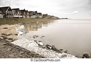 hollandse, meer, oud, vissend dorp