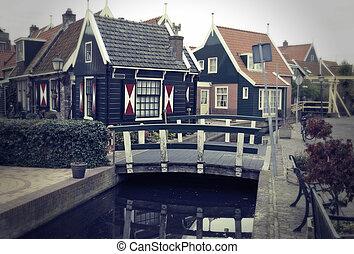 hollandse, oud, typisch, dorp