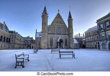 hollandse, parlement, in, sneeuw