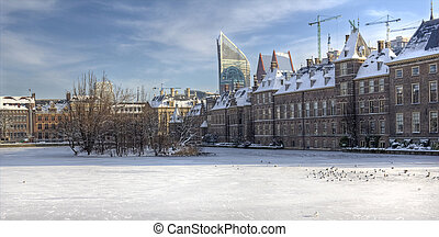 hollandse, parlement, in, winter