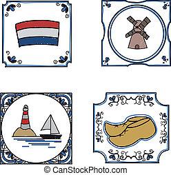 hollandse, tegels, hand, getrokken
