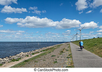 hollandse, turbines, fietsers, dijk, senior, wind, langs, ...