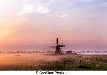 hollandse, windmolen, in, mist, in, de, vroege morgen