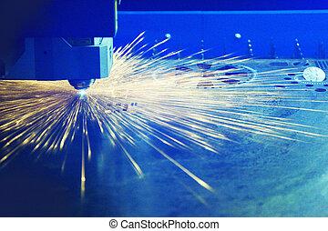 holle weg, metaal, met, een, laser