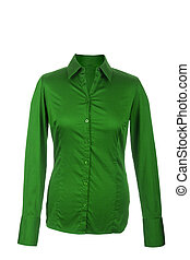 Hollow Female green blouse with long sleeves, isolated on ...