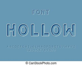 Hollow font. Vector alphabet letters and numbers. Typeface...
