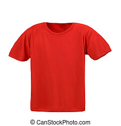 Hollow red T-shirt on a white background