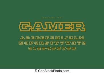 Hollow serif font in futuristic style