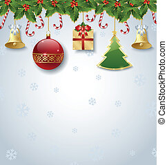 Christmas decoration - Holly and candy canes with...
