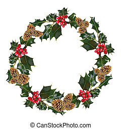 Holly and Pine Cone Wreath - Holly leaf sprigs with red...