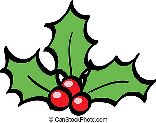Holly Berries cartoon isolated, vector illustration