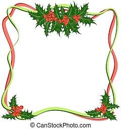 Holly berries frame. Christmas symbol vector illustration