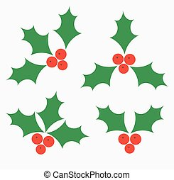Holly berries icons - Holly berries Christmas symbols....