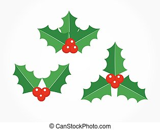 Holly berries plant icons