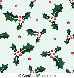 Holly, berries seamless pattern.eps