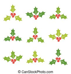 Holly berries set of icons