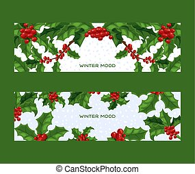 Holly berries vector Christmas traditional decoration frame on Xmas winter holiday backdrop illustration of framed decorative red berry green leaf plant on December background set