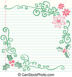 Holly Berry Christmas Border Doodle - Christmas Holly Leaves...