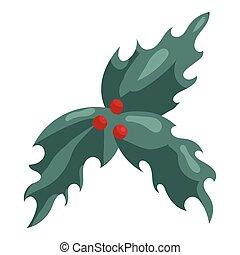 Holly berry Christmas symbol icon, cartoon style - Holly ...