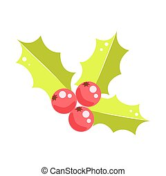 Holly berry Christmas vector icon.