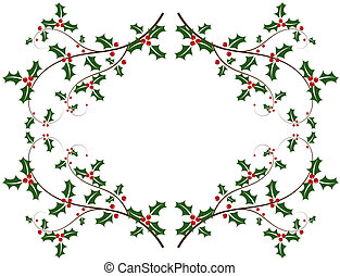 Holly berry frame - Christmas holly frame - vector...