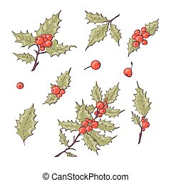Holly berry icon. Christmas symbol vector illustration Hand ...