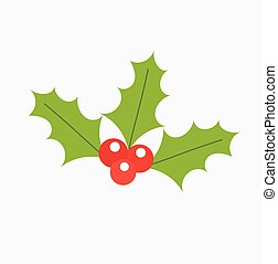 Holly berry Christmas icon. Vector illustration
