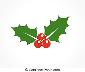 Holly berry icon - Holly berry leaves Christmas icon. Vector...