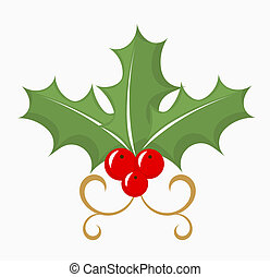 Holly berry - three leaves and red fruits. Vector...