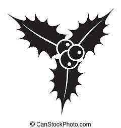 Holly berry - Black christmas holly berry plant icon vector...