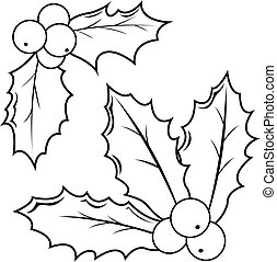 Holly berry sprigs. Black and white coloring book page -...