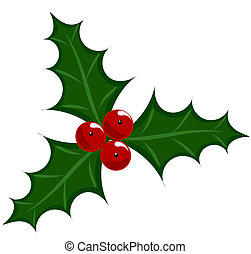 Holly berry icon - symbol of Christmas vector illustration