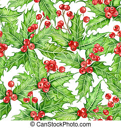 Holly berry watercolor - Holly berry seamless pattern...