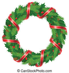 Christmas wreath of holly berry, fir branch and red ribbonl, vector illustration