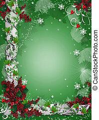 holly, borda, fitas, natal, elegante
