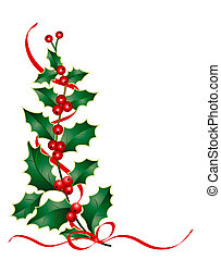 Christmas illustration of holly branch