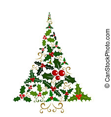 Holly Christmas tree - Abstract Christmas tree isolated made...