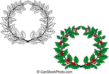 Holly christmas wreath with berries for holiday design