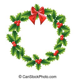 Holly Christmas wreath with bow red ribbon