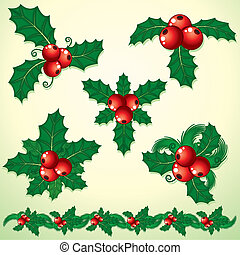 Holly Decoration - Christmas Holly - set of decorative...
