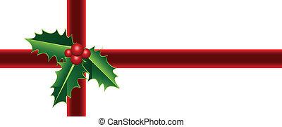 holly, embrulhando, presente natal
