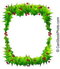 Holly Frame Isolated on White