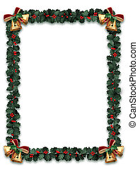 Holly garland border with gold bells on a white background with letter sized aspect ratio