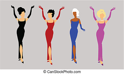 ladies in evening gowns all glammed up