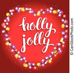 Holly jolly bright composition with garland