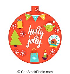 Holly Jolly Papercut Concept. Vector Illustration. Merry...