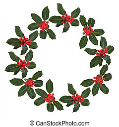 Holly Leaf and Berry Wreath