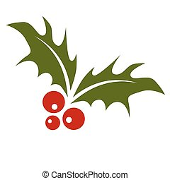 Holly Leaf with Berries - An image of a holly leaf with red...