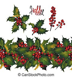 Holly leaves and berries, endless border - Christmas...