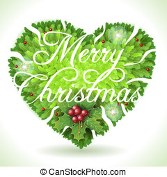 Holly Leaves Heart and Merry Christmas Calligraphic Text